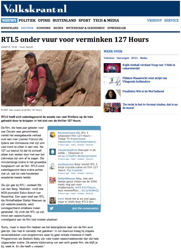 Over RTL5, 127 Hours en het nieuws