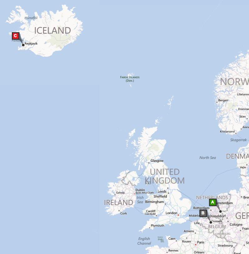 Kaart Dag 1 IJsland